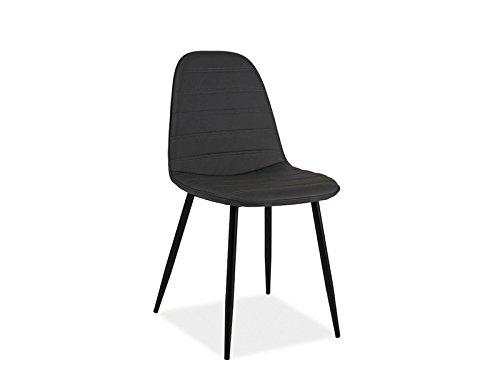 Stuhl 39 teo b 39 schalenstuhl kunstleder grau schwarz metall for Kunstleder stuhl grau