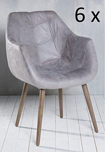 esszimmerst hle leder grau m belideen. Black Bedroom Furniture Sets. Home Design Ideas